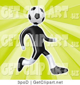 3d Clip Art of a Soccer Player Man with a Soccer Ball Head Running by 3poD