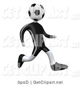3d Clip Art of a Soccer Player Person with a Soccer Ball for a Head Running over a White Background by 3poD