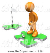3d Clip Art of a Sporty Orange Person Standing on a Green Puzzle Piece, Teeing off and Aiming for a Hole on Another Piece, Symbolizing Goals on White by 3poD