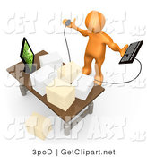 3d Clip Art of a Stressed Orange Employee Looking at Their Crowded Desk Topped with Stacks of Paperwork, Trying to Figure out Where They Can Put Their Computer Keyboard by 3poD