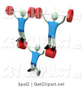 3d Clip Art of a Strong Guy Lifting Heavy Barbell Weights and Two Other Weightlifters over His Head in a Fitness Gym by 3poD