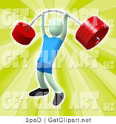 3d Clip Art of a Strong Male Holding Heavy and Bending Red Barbell Weights Above His Head in a Fitness Gym by 3poD