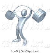 3d Clip Art of a Strong Silver Man Lifting Heavy and Bending Barbell Weights Above His Head in a Fitness Gym by 3poD