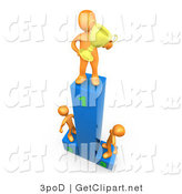 3d Clip Art of a Successful Athlete Man Holding a Golden Trophy Cup and Standing on the First Place Spot on a Podium While the Two Runners up Look Upwards in Admiration by 3poD
