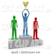 3d Clip Art of a Successful Athlettic Person Holding a Golden Trophy Cup up Above His Head and Standing on the First Place Spot on a Podium While the Two Runners up Stand on Both Sides by 3poD