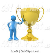 3d Clip Art of a Successful Blue Athlete Person Leaning Against His Oversized Trophy Cup by 3poD