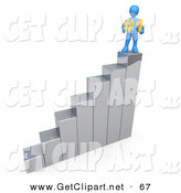 3d Clip Art of a Successful Blue Perosn Standing on Top of an Ascending Silver Bar Graph Chart and Holding a #1 Sign by 3poD