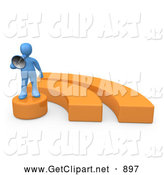 3d Clip Art of a Successful Blue Person Holding a Megaphone and Standing on an Orange Blog Symbol by 3poD