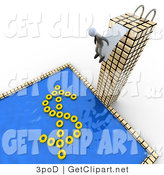 3d Clip Art of a Successful Business Person Standing at the Edge of a Diving Board at the Top of a Tall Skyscraper Building, Preparing to Jump into a Pool with Yellow Inner Tubes Forming the Shape of a Dollar Sign by 3poD