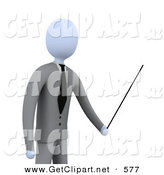 3d Clip Art of a Successful Businessman, Boss or Manager, Holding a Pointer Stick During a Presentation, Training Class or Meeting by 3poD
