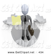3d Clip Art of a Successful Businessman Carrying a Briefcase and Coming out of an Eggshell and Holding out a Yellow Sign by 3poD