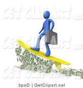 3d Clip Art of a Successful Male Blue Business Person Carrying a Briefcase and Standing Proud on a Yellow Surfboard While Surfing on Money by 3poD
