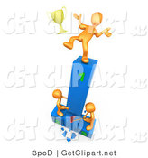 3d Clip Art of a Successful Orange Athlete Slipping and Dropping His Golden Trophy Cup While the Two Runners up Try to Hack down the First Place Podium in Revenge by 3poD