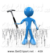 3d Clip Art of a Surprised and Overwhelmed Blue Person Holding a Hammer and Nail While Standing in a Patch of Many Nails by 3poD