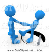 3d Clip Art of a Surprised and Unsuspecting Blue Man Shaking Hands on a Deal with Another Man As a Saw Cuts a Circle out from Under Him and He Slips by 3poD