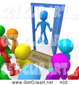 3d Clip Art of a Surprised Blue Man Standing at an Open Door with a Welcome Mat, Looking out at a Crowd of Welcome but Unsuspected Visitors by 3poD