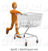 3d Clip Art of a Tall Orange Person Running Through a Store and Pushing a Shopping Cart by 3poD