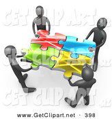 3d Clip Art of a Team of 4 Black People Holding up Connected Pieces to a Colorful Puzzle, Symbolizing Excellent Teamwork, Success and Link Exchanging by 3poD