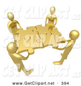 3d Clip Art of a Team of 4 Gold People Holding up Connected Pieces to a Gold Puzzle, Symbolizing Excellent Teamwork, Success and Link Exchanging by 3poD