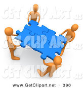3d Clip Art of a Team of 4 Orange People Holding up Connected Pieces to a Gold Puzzle, Symbolizing Excellent Teamwork, Success and Link Exchanging by 3poD