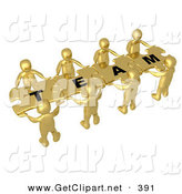 "3d Clip Art of a Team of 8 Golden People Holding up Connected Pieces to a Colorful Puzzle That Spells out ""Team,"" Symbolizing Excellent Teamwork, Success and Link Exchanging by 3poD"