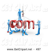 3d Clip Art of a Team of Blue People Constructing the Word Com, Symbolizing a Website Under Construction, on White by 3poD