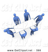 3d Clip Art of a Team of Blue People Working Together to Lift a Blank White Sign Which Is Ready for an Advertisement by 3poD