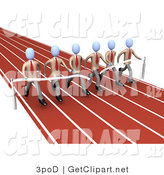 3d Clip Art of a Team of Businessmen in Matching Uniforms, Running a Marathon on a Race Track and Completing and Running in Race at the Same Time by 3poD
