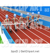 3d Clip Art of a Team of Businessmen in Matching Uniforms, Running a Marathon on a Race Track and Finishing a Race at the Same Time by 3poD