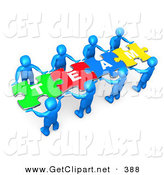 "April 28th, 2013: 3d Clip Art of a Team of Eight Blue People Holding up Connected Pieces to a Colorful Puzzle That Spells out ""Team,"" Symbolizing Excellent Teamwork, Success and Link Exchanging by 3poD"