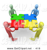 3d Clip Art of a Team of Four Diverse People Holding up Connected Pieces to a Colorful Puzzle, Symbolizing Excellent Teamwork, Success and Link Exchanging by 3poD