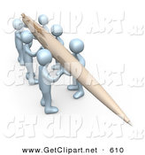 3d Clip Art of a Team of People Working Together to Hold a Giant Pen to Compose a Newsletter or Article by 3poD