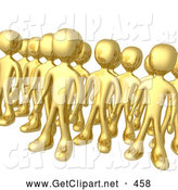 3d Clip Art of a Tight Group of Gold Men Standing Proud in Rows by 3poD