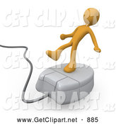 3d Clip Art of a Tipsy Orange Person Trying to Maintain His Balance While Riding on a White Computer Mouse and Surfing the Internet by 3poD