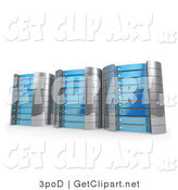 3d Clip Art of a Trio of Blue Towers of Server Racks by 3poD