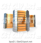 3d Clip Art of a Trio of Orange Towers of Server Racks by 3poD