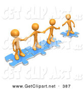 April 30th, 2013: 3d Clip Art of a Trio of Successful Orange People Holding Hands and Standing on Blue Puzzle Pieces, with One Man Reaching out to Connect Another to Their Group by 3poD