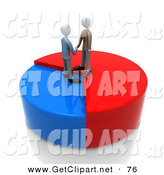 3d Clip Art of a Two Businessmen Standing on a Pie Chart, Shaking Hands and Agreeing on a One Sided Deal by 3poD