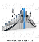 3d Clip Art of a Two Competitive Businessmen Racing up Different Sides of an Ascending Chrome and Blue Bar Graph Chart by 3poD