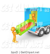 3d Clip Art of a Two Orange Male Figures Lifting and Loading a Green and Orange Living Room Couch into a Blue Moving Truck by 3poD
