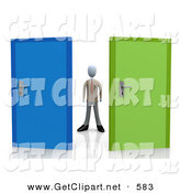 3d Clip Art of a Uncertain Businessman Standing Between a Blue and a Green Door, Trying to Decide Which Career Path to Take After Graduating by 3poD