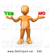 3d Clip Art of a Uncertain Orange Man Shrugging and Weiging out the Options of Yes or No on White by 3poD