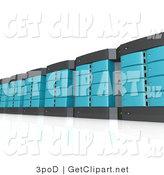 3d Clip Art of a Wall of Blue and Black Computer Server Towers by 3poD