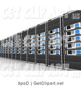 3d Clip Art of a Wall of Computer Server Towers in a Line by 3poD