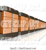 3d Clip Art of a Wall of Orange and Black Computer Server Towers by 3poD