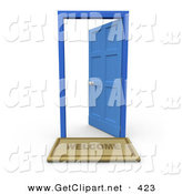 3d Clip Art of a Welcome Door Mat in Front of an Open Blue Door on White by 3poD