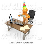 3d Clip Art of a Well Deserving Orange Figure Employee Wearing a Party Hat and Blowing on a Noise Maker While Standing Behind His Computer Desk and Holding a Bonus Sign by 3poD