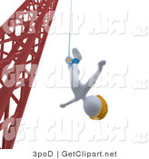 3d Clip Art of a White Bungee Jumper Man in a Yellow Helmet, Falling While Bungee Jumping from a Crane by 3poD