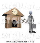 3d Clip Art of a White Businesperson in a Suit, Holding a Briefcase and Sticking out from an Arm of a Cuckoo Clock upon the Hour of 9am, Symbolising the Start of a New Work Day, or Punctuality by 3poD