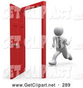 3d Clip Art of a White Business Person Running Towards an Open Opportunity Door by 3poD